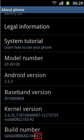 Samsung Galaxy S2 ke7 update