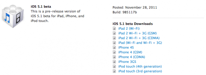Download iOS 5.1 Beta: Apple hat neue Firmware-Version für iPhone, iPad & iPod Touch veröffentlicht
