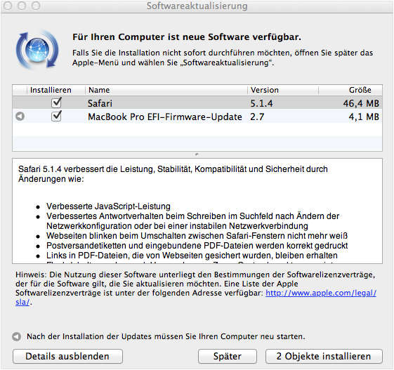 Safari 5.1.4 steht in neuer Version zum Download bereit + EFI Firmware Update 2.7 für Macbook Pro
