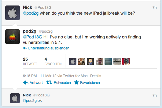 iOS 5.1 Jailbreak iPhone 4S - iPad 2 in Arbeit - Pod 2g Tweet