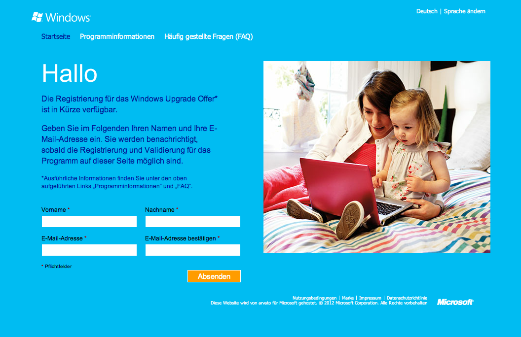 Windows 8 Upgrade-Website