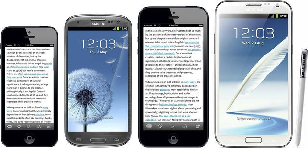 Von links nach rechts: iPhone 5, Galaxy S3, iPhone Plus Mockup, Galaxy Note 2