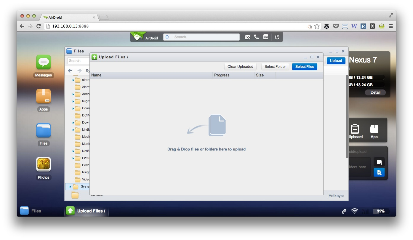 AirDroid 2 Dateiupload