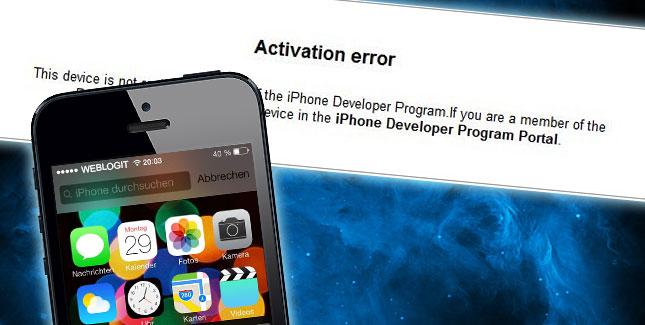 Aktivierungsfehler / Activation Error iOS 7 Beta: So klappt es