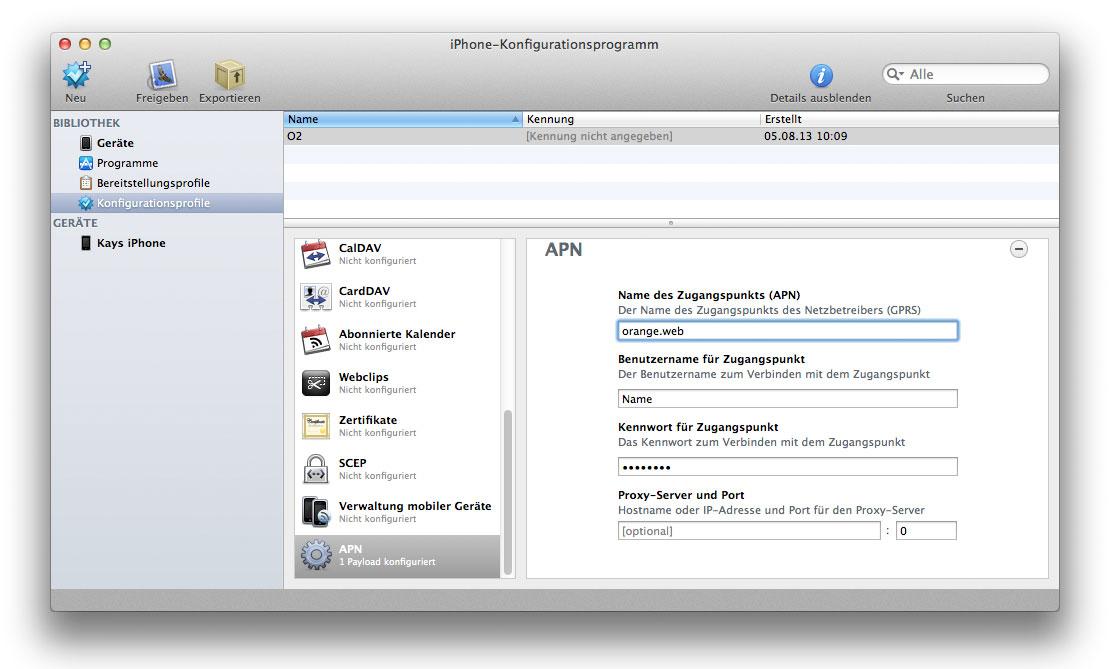 APN-Orange-Konfigurationsprofil