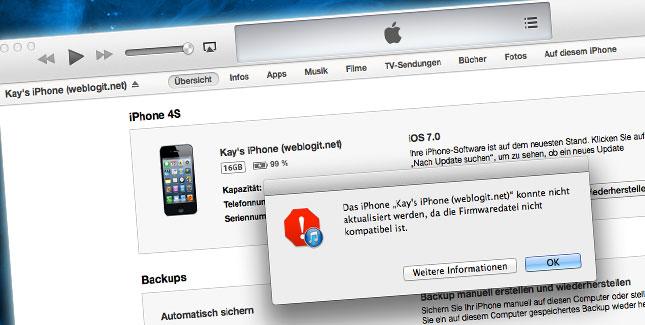 Firmwaredatei nicht kompatibel in iTunes: So geht's