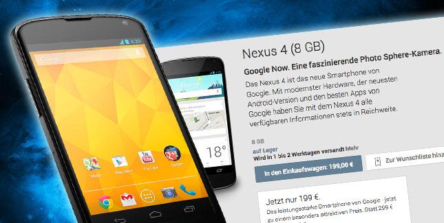 Nexus 4 zum Hammer-Preis erhältlich