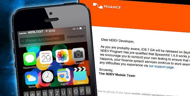 Mail von Nuance bestätigt iPhone 5S & iOS 7 für den 10. September