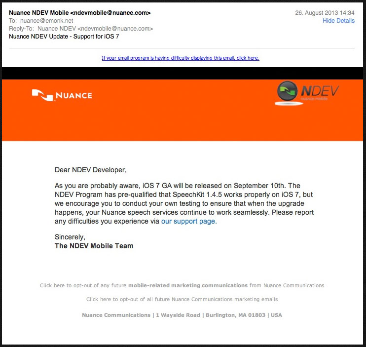 Nunance-SDK-iOS-7-Mail