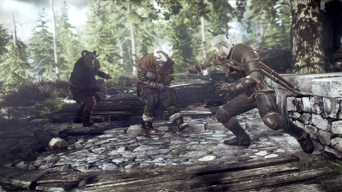 The_Witcher_3_Wild_Hunt_Geralt_fighting_bandits_in_Ard_Skelig