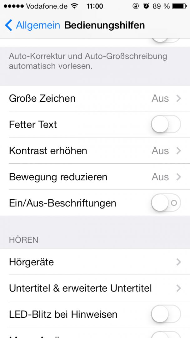 Bewegung reduzieren = Parallax-Effekt ausschalten, weniger Last für iPhone < 5s