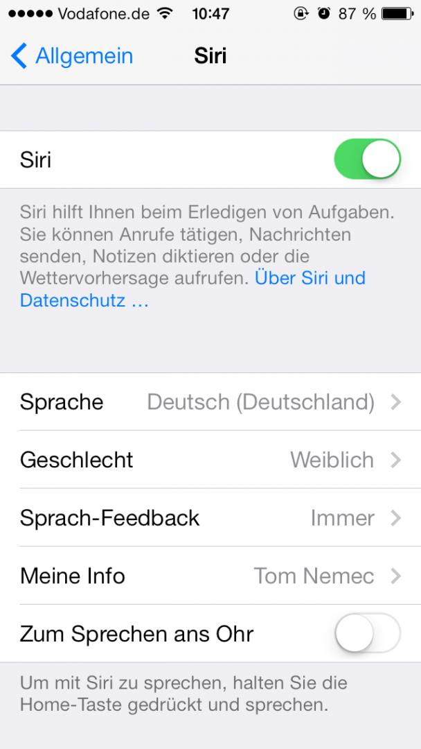 """Siri-Gyro-Funktion """"Zum Sprechen ans Ohr"""" verbraucht potenziell unnötig Akkulaufzeit."""