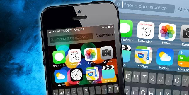 Spotlight-Suche in iOS 7 öffnen / starten