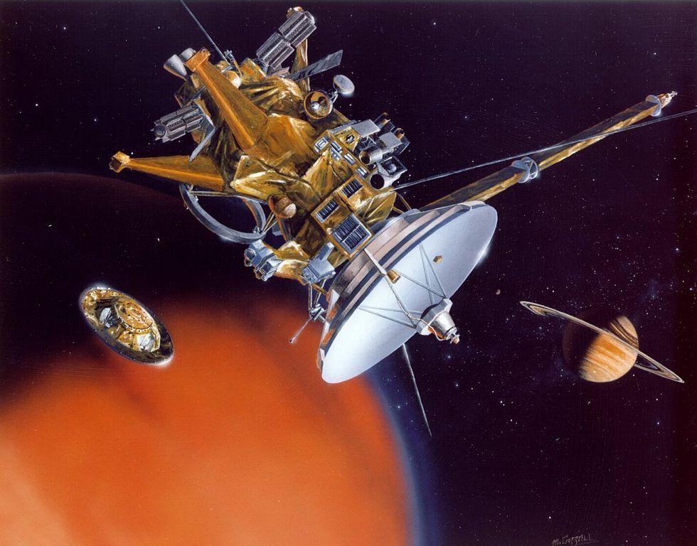 Cassini-Sonde in der Umlaufbahn von Titan