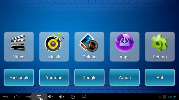 Die eingebaute Medien-UI sieht aus wie ein DVD-Player-Urgestein