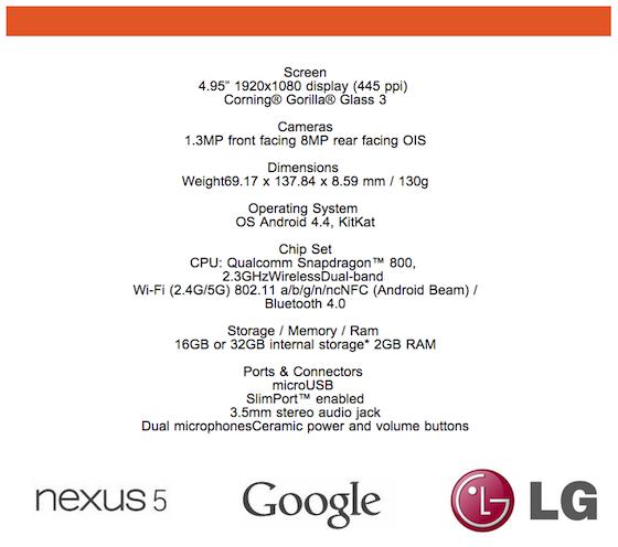 Google Nexus 5 Spezifikationen