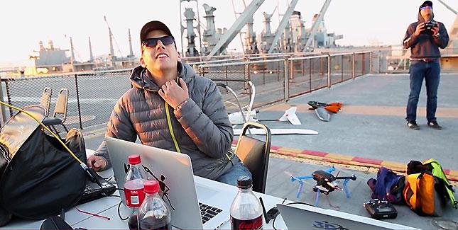 Start & Landung einer zivilen Drohne auf einem Flugzeugträger