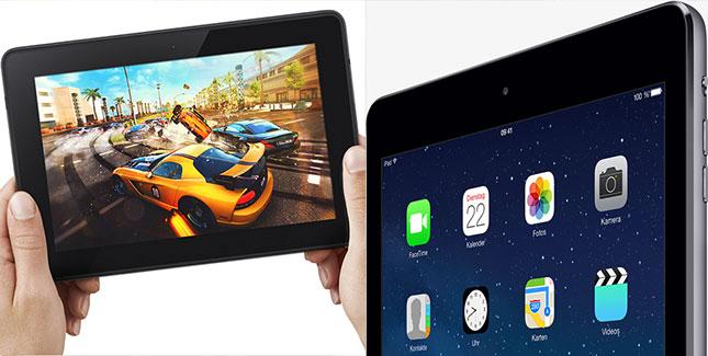 Display-Vergleich: Apple iPad Air vs. Amazon Kindle Fire HDX