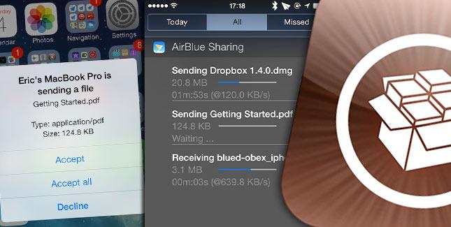 AirBlue Sharing für iOS 7: Dateien via Bluetooth übertragen