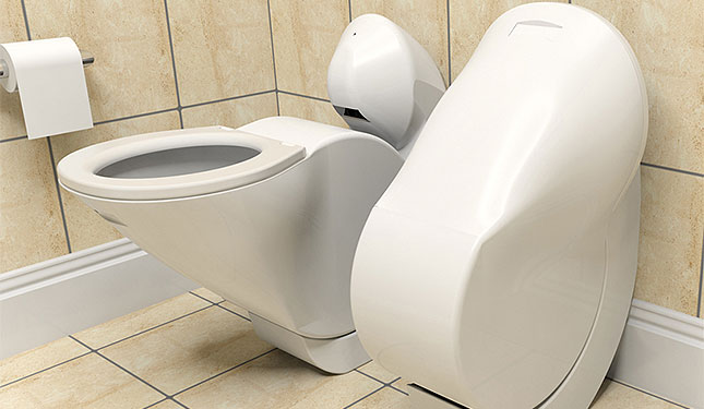 Iota: Eine wassersparende, klappbare und platzsparende Toilette