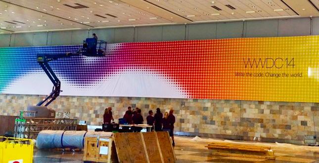 """""""Write the Code. Change the World."""" auf WWDC-Banner"""