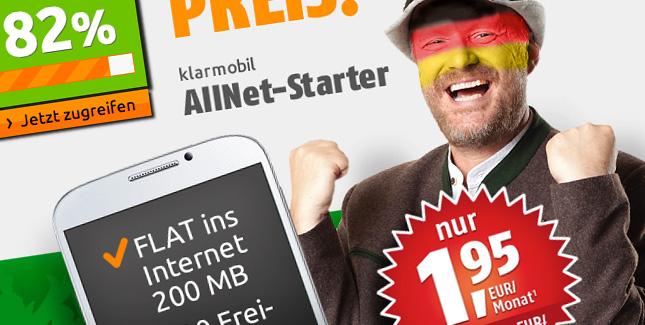 AllNet Starter Flat für 1,95 Euro im D-Netz – für kurze Zeit