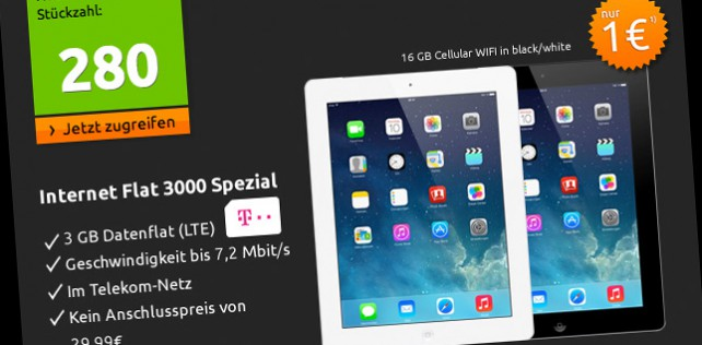 Begrenzt: iPad 4 mit 3GB LTE-Datenflat für 1 Euro