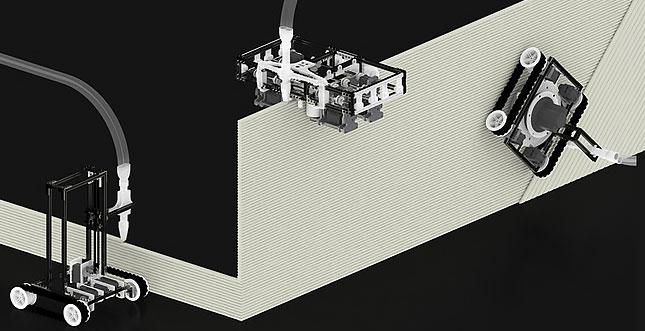 Minibuilders Drei 3d Druck Roboter Bauen Ein Haus L Weblogit