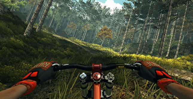 Mountainbike-Gebretter mit dem Oculus Rift im Video