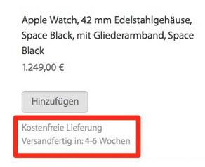 Apple-Watch-Lieferzeit