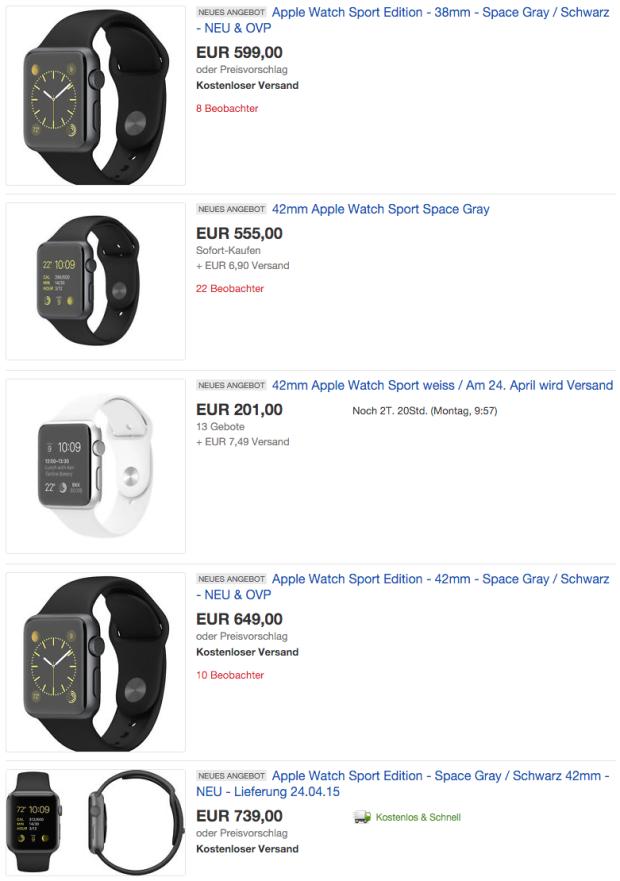 """Apple Watch auf eBay """"vorbestellen"""""""