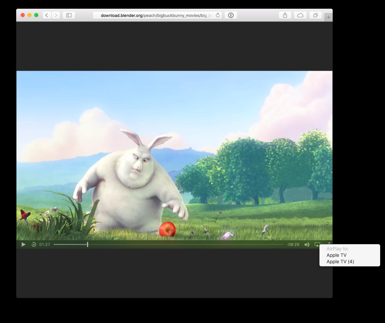 AirPlay in eingebetteten Videos im Browser