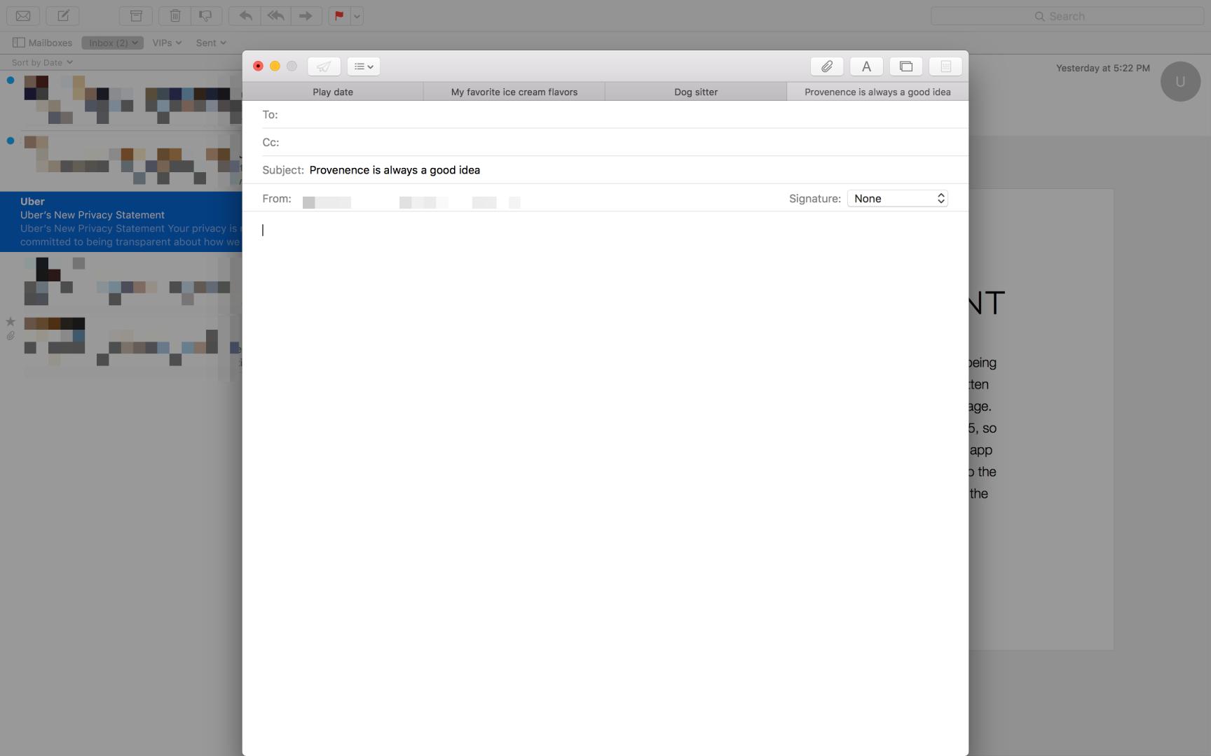Apple Mail mit Tabs im Compose-Fenster