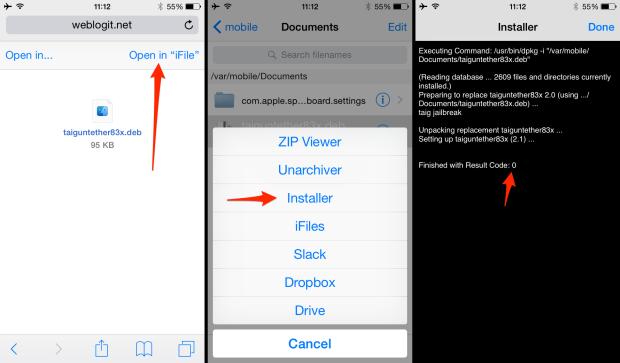 iOS 8.3 Jailbreak Taig untether update auf 2.1.1