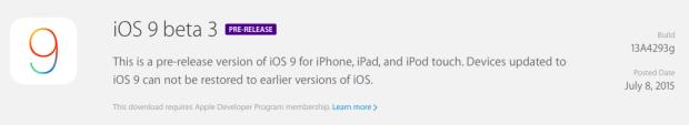 iOS 9 Beta 3 - IPSW Download