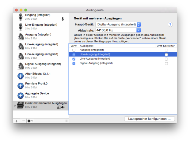 aggregate device konfiguration
