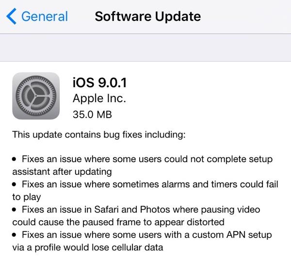 iOS 9.0.1 changelog