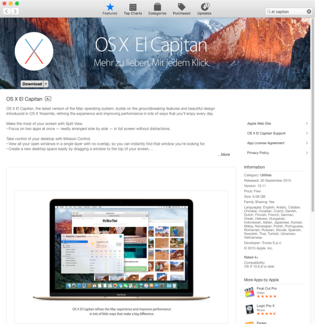 Mac OS X El Capitan - Download