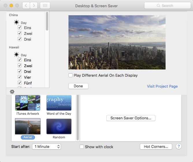 aerial screensaver konfiguration