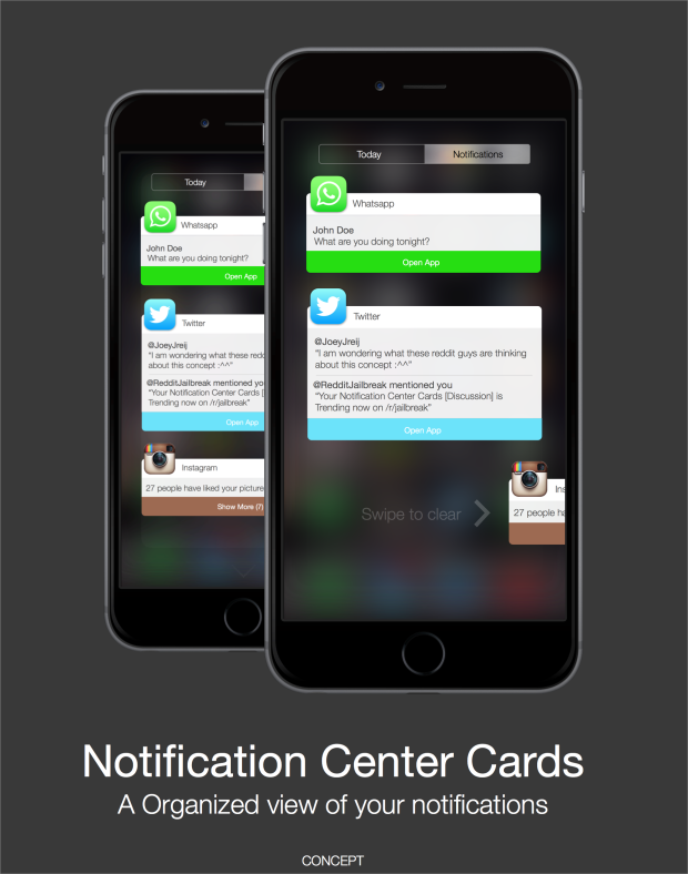 Notification Center cards