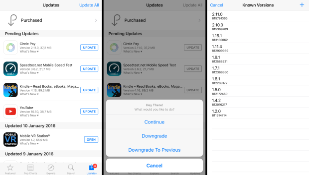 downgrade iOS apps