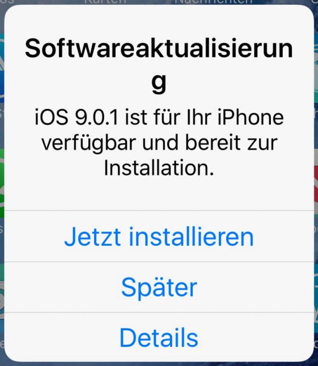 iOS Update Benachrichtigung - jetzt installieren