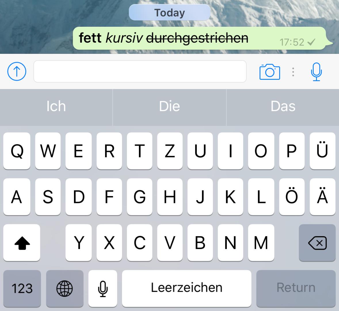 WhatsApp: Text in kursiv, fett und durchgestrichen