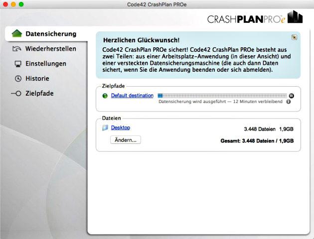 CrashPlan-Datensicherung